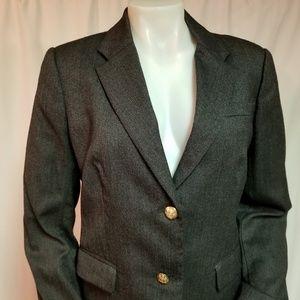 J. Crew Gray Wool Blend Blazer Gold Buttons Sz 12